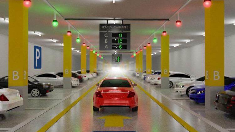 تصویری از سیستم پارکینگ هوشمند با تعداد زیادی خودرو را نشان می دهد.