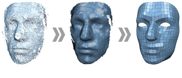 سه تصویر از مراحل مختلف پردازش تصویر یک چهره است که پس زمینه سفید رنگ دارد.