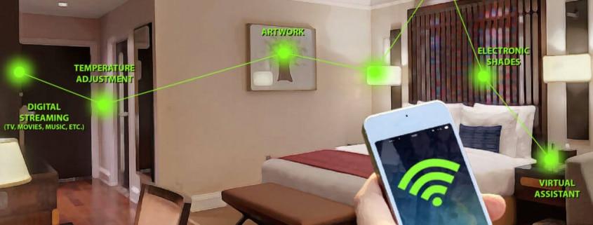 تصویر شخصی که با کمک یک موبایل کنترل ساختمان با BMS را نظارت می کند.
