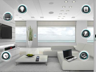 تصاویری از یک نرم افزار کنترل خانه هوشمند با پس زمینه سفید و قرار گرفتن آیکون های مختلف در اطراف صفحه با یک لپ تاپ در وسط تصویر