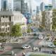 تصویری از فضای یک شهر هوشمند را نمایش می دهد که در آن ساختمان ها و ماشین های هوشمندی قرار داد.