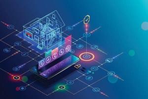 تصاویری گرافیکی از یک خانه هوشمند که هر یک از بخش های خانه با یک رنگ مشخص گردیده شده است