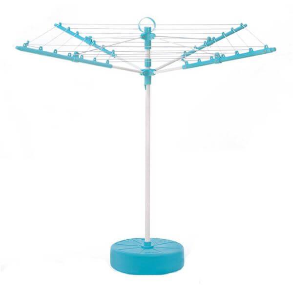 تصویری از راحت آویز چتری آبی رنگ که با پس زمینه سفید است.