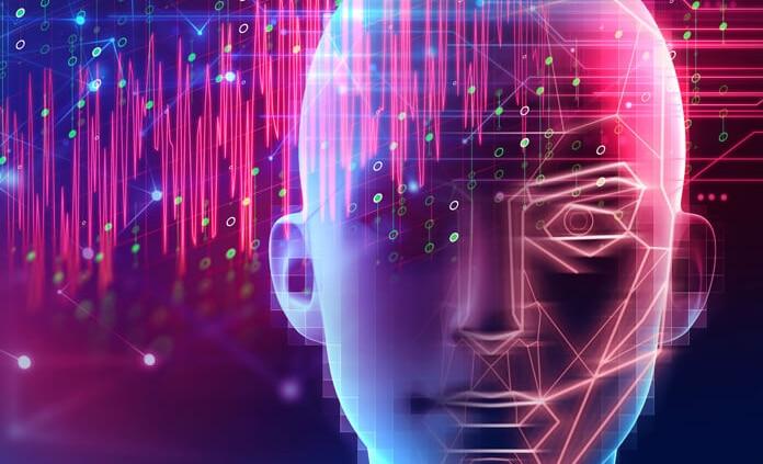 تصویری از چهره یک انسان است که به وسیله پردازش تصویر تجزیه و تحلیل می شود.