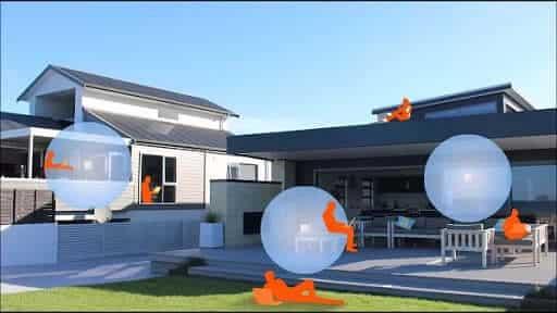 تصویری از یک خانه را نشان می دهد که یک انسان به رنگ نارنجی در مکان های مختلف آن قرار گرفته است.