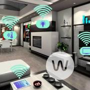 تصویری از نمای داخلی یک خانه هوشمند که بسیاری از تجهیزات آن هوشمند می باشند.