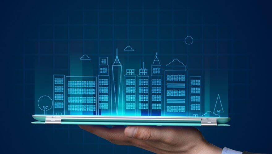 تصویری از ساختمان های بزرگی که بر روی تلفن همراه قرار دارند را نشان می دهد.