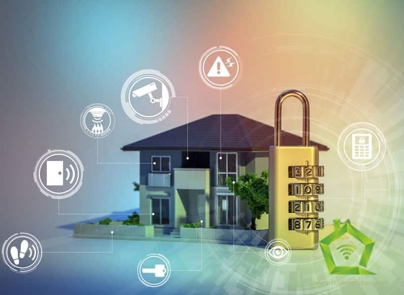 تصویری از امنیت یک خانه هوشمند را نمایش می دهد.